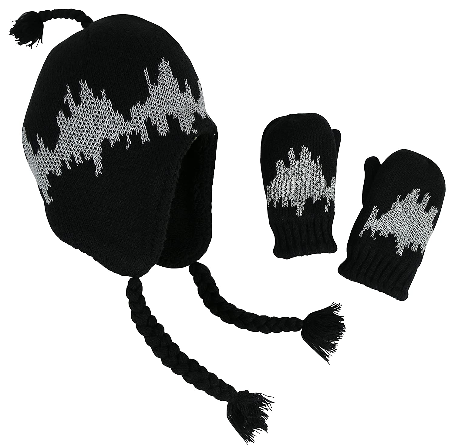 N'Ice Caps Boys Warm Double Layered Lined Hat and Gloves Winter Snow Set