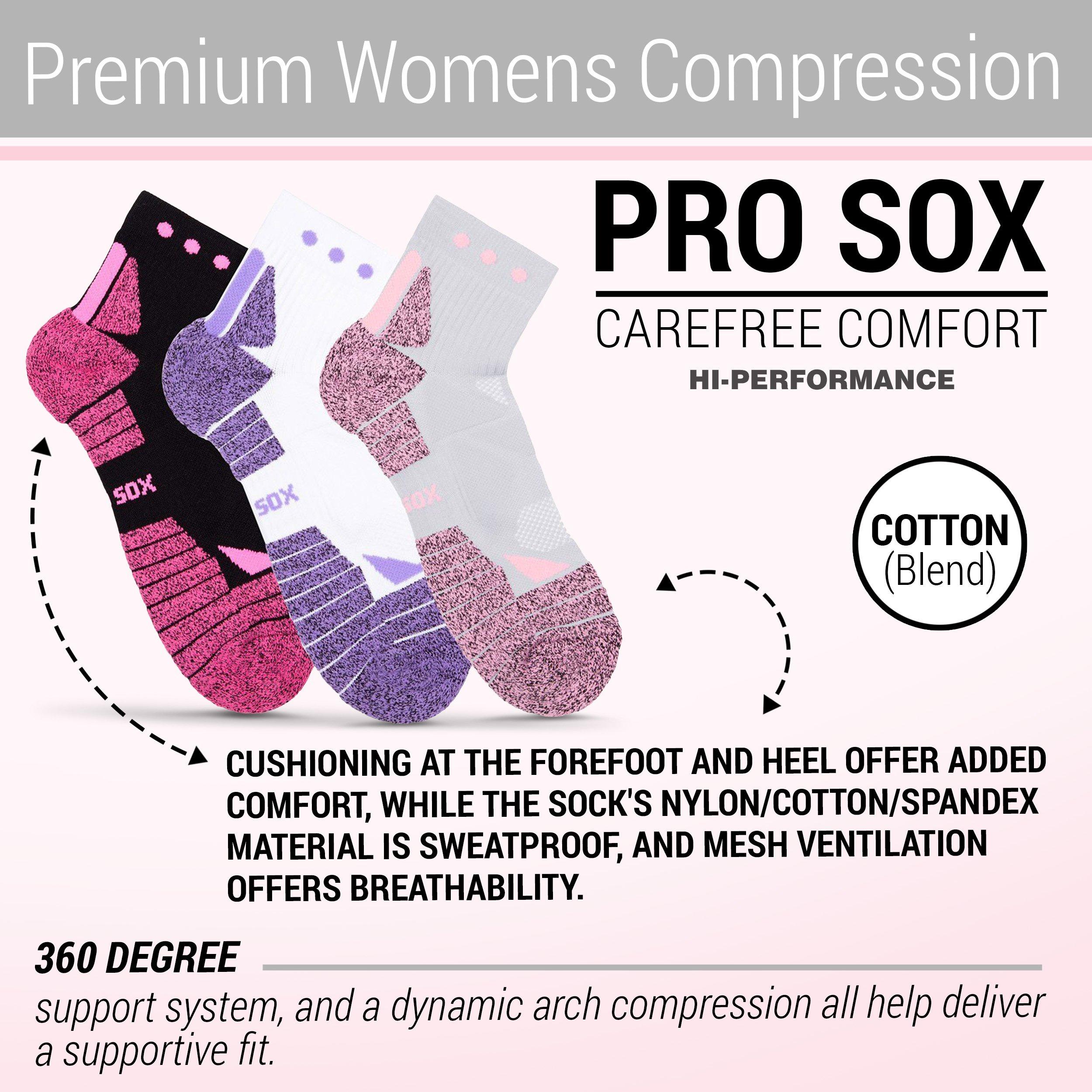 Hi-Performance Pro Sox Ladies 3 Pack Quarter Length Athletic Socks, Size 9-11 Multicolored-2 by Hi-performance Pro Sox (Image #6)