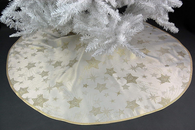 Hossner Baumdecke 95 cm Weihnachten Creme Sterne Gold Christbaumdecke Weihnachtsbaumdecke