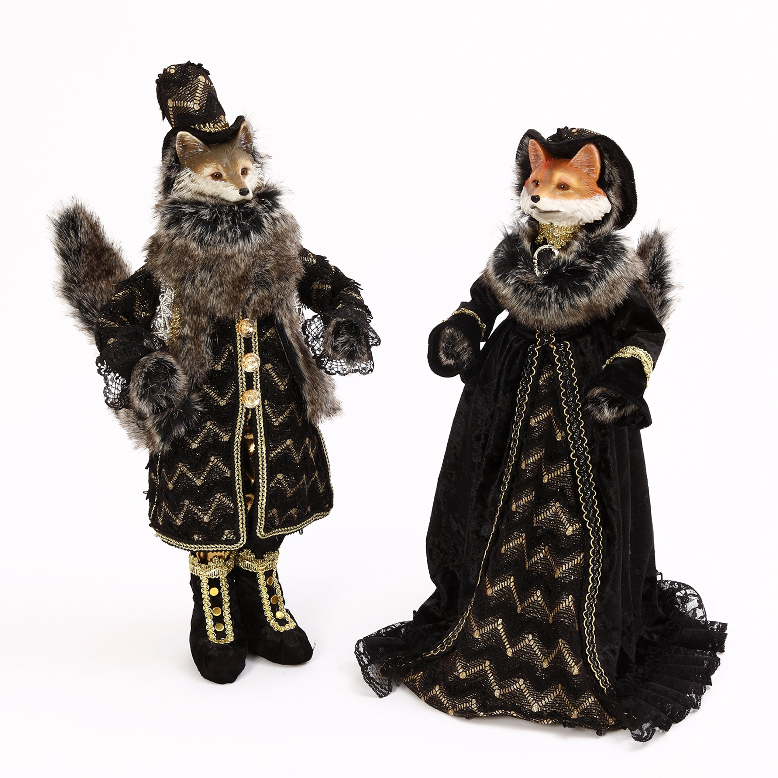 Halloween Masquerade Fox Doll Figurines Set of 2 New 18'' Tall Adorable animals by Gerson International (Image #1)
