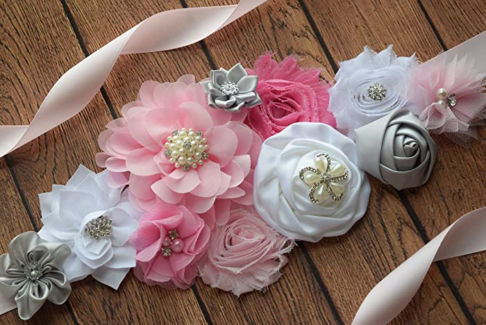 Amazon Com Flower Sash Pink Grey White Sash Flower Belt