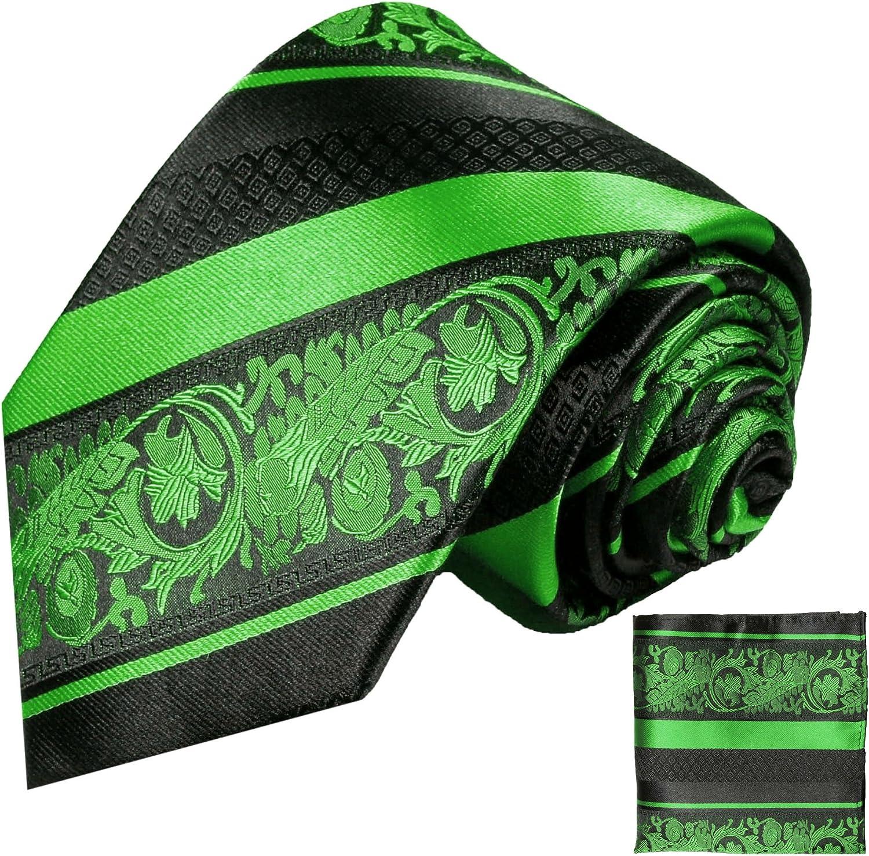 P.M. Krawatten Paul Malone Corbata de seda verde barroco a rayas ...