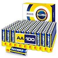 ALLMAX AA Maximum Power Alkaline Batteries (100 Count Bulk Pack) – Double A Ultra...