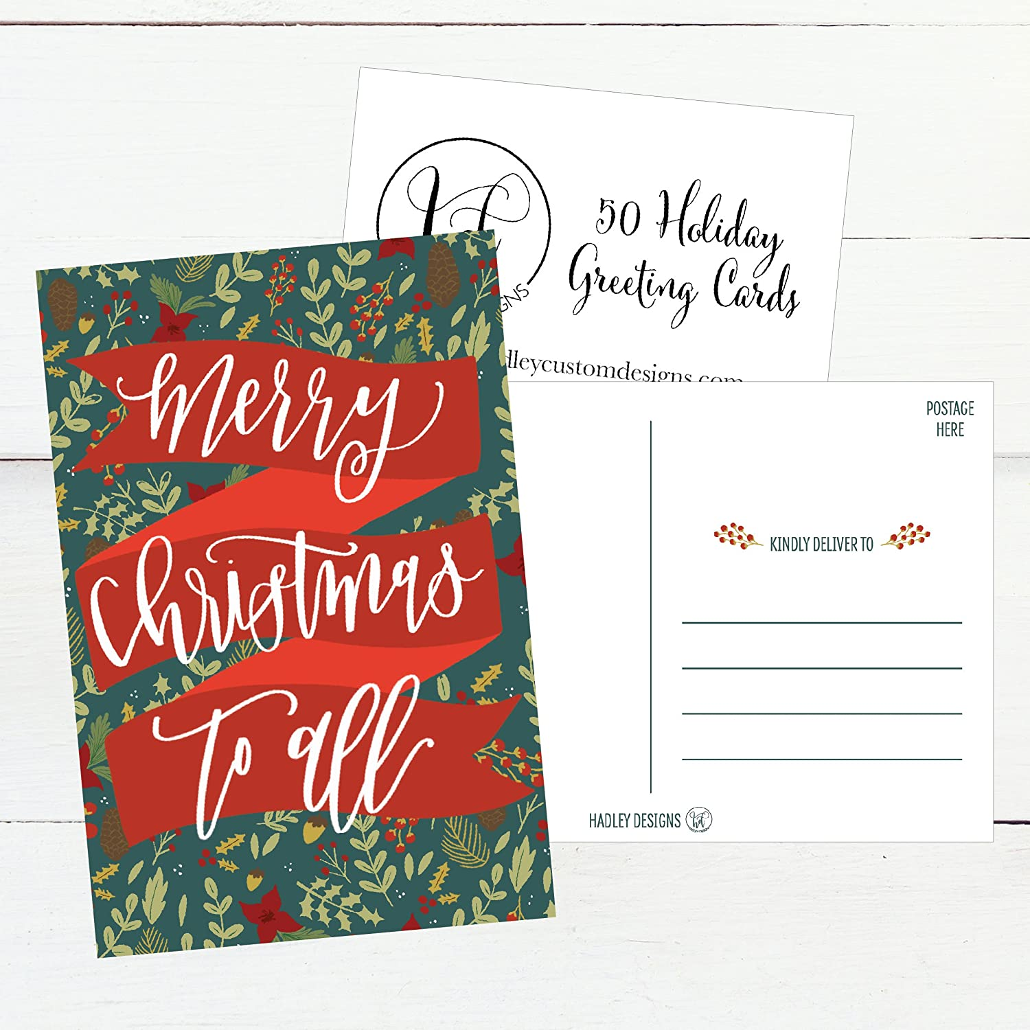 Amazon 50 Holiday Greeting Cards Cute Fancy Blank Winter