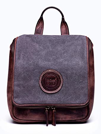 Amazon.com   RAWHYD Waxed Canvas   Leather Travel Hanging Toiletry ... b3a5053023f90