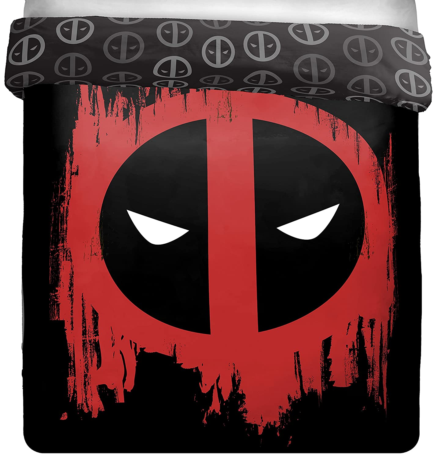 Marvel Deadpool Invasion Full/Queen Comforter - Super Soft Kids Reversible Bedding features Deadpool - Fade Resistant Polyester Microfiber Fill (Official Marvel Product)