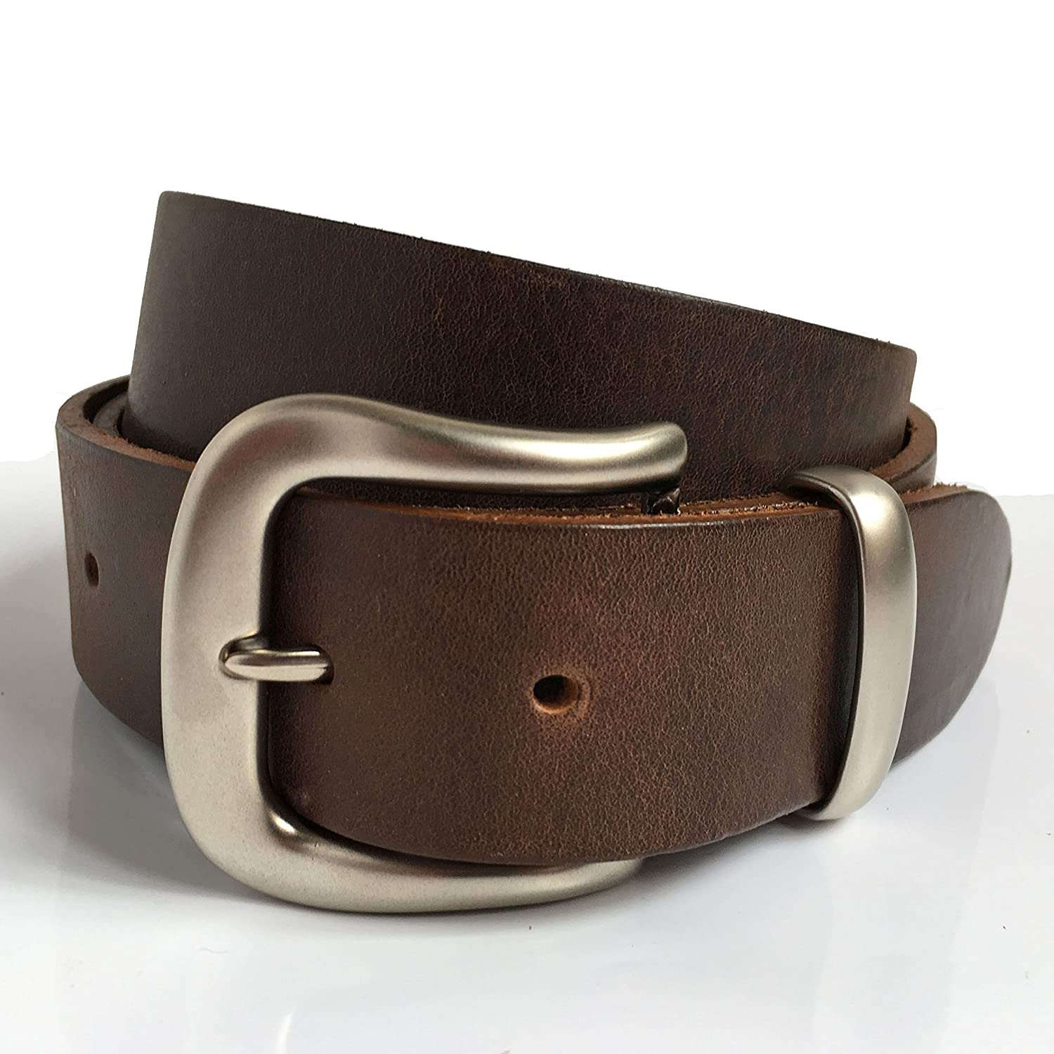 Classical Brown Leather Belt for Men Handmade in UK 1' 1/2 ca. 4cm with Silver Pin Buckle and Silver Loop with Extra Leather Loop Leather Strap also in Black, Tan, Vintage Brown or Navy