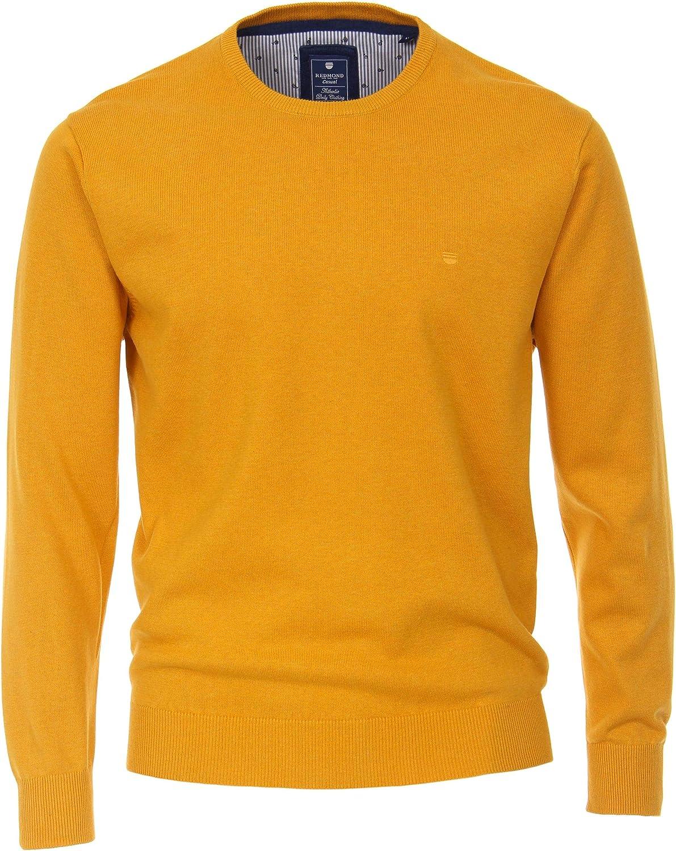 Redmond Herren Melange Pullover unifarben Hoher 100/% Baumwolle