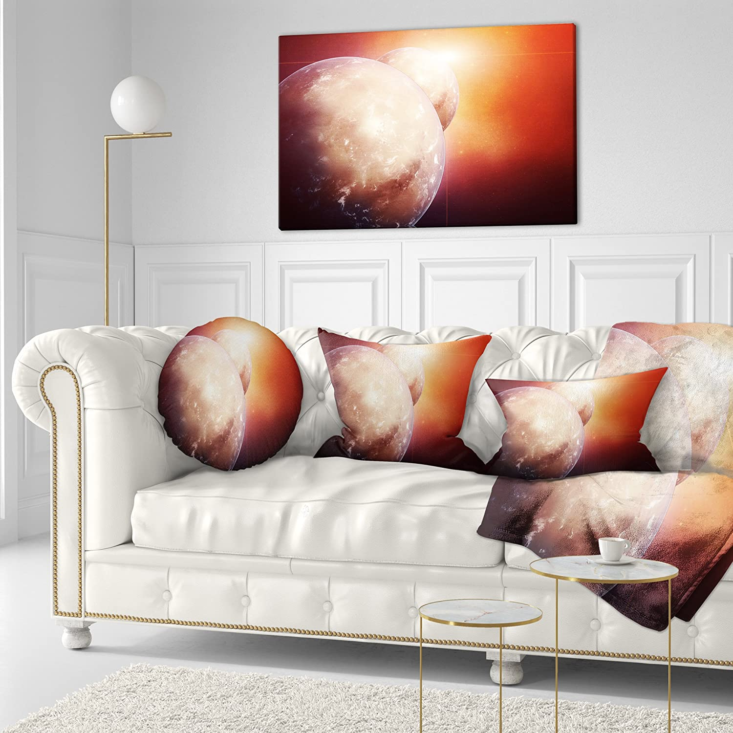 Sofa Throw Pillow 16 Insert Printed On Both Side Designart Cu8086 16 16 C Planets With