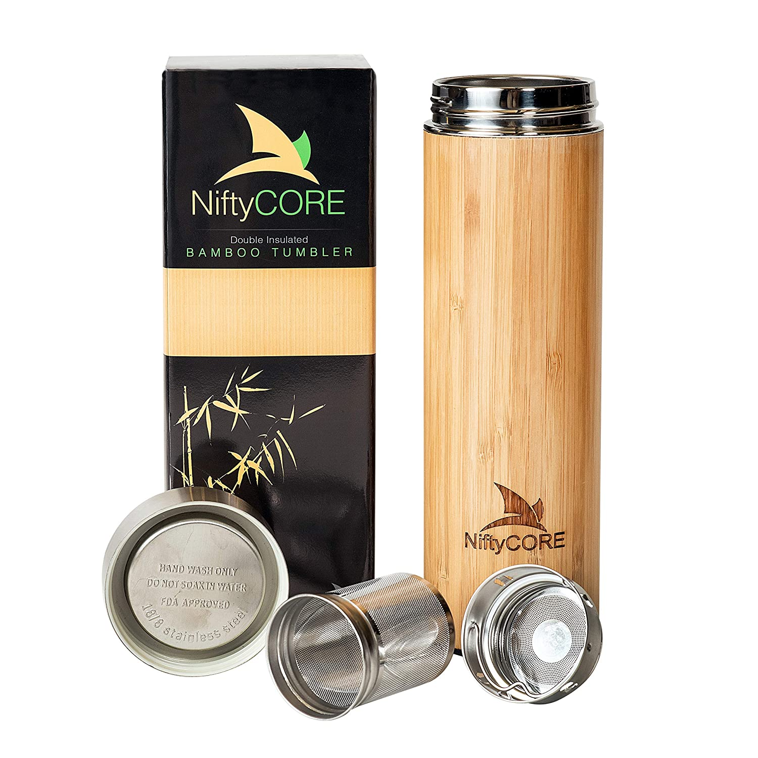 Bamboo Tumbler with Tea Infuser Loose Leaf Strainer – 17 oz Advanced Double Insulated Stainless Steel Travel Thermos - Best Gift for Tea Lovers - Leak-Proof Hot Coffee Mug, Fruit Water Bottle