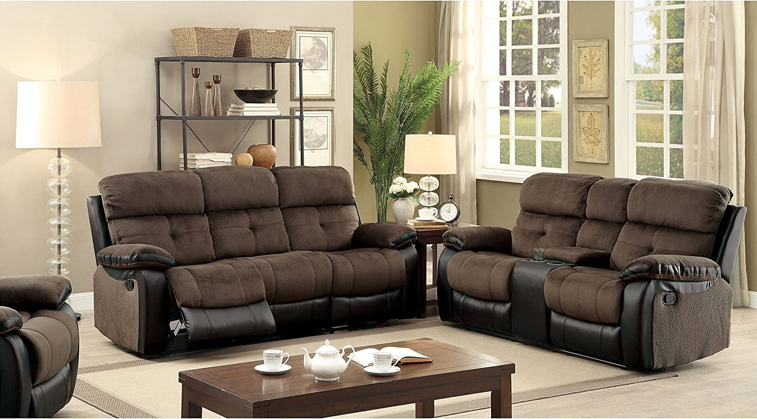 Amazon Com Furniture Of America Fawnie 2 Piece Two Tone Champion