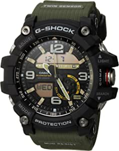G-Shock Quartz Watch with Stainless-Steel Strap, Green, 27 (Model: GG1000-1A3)