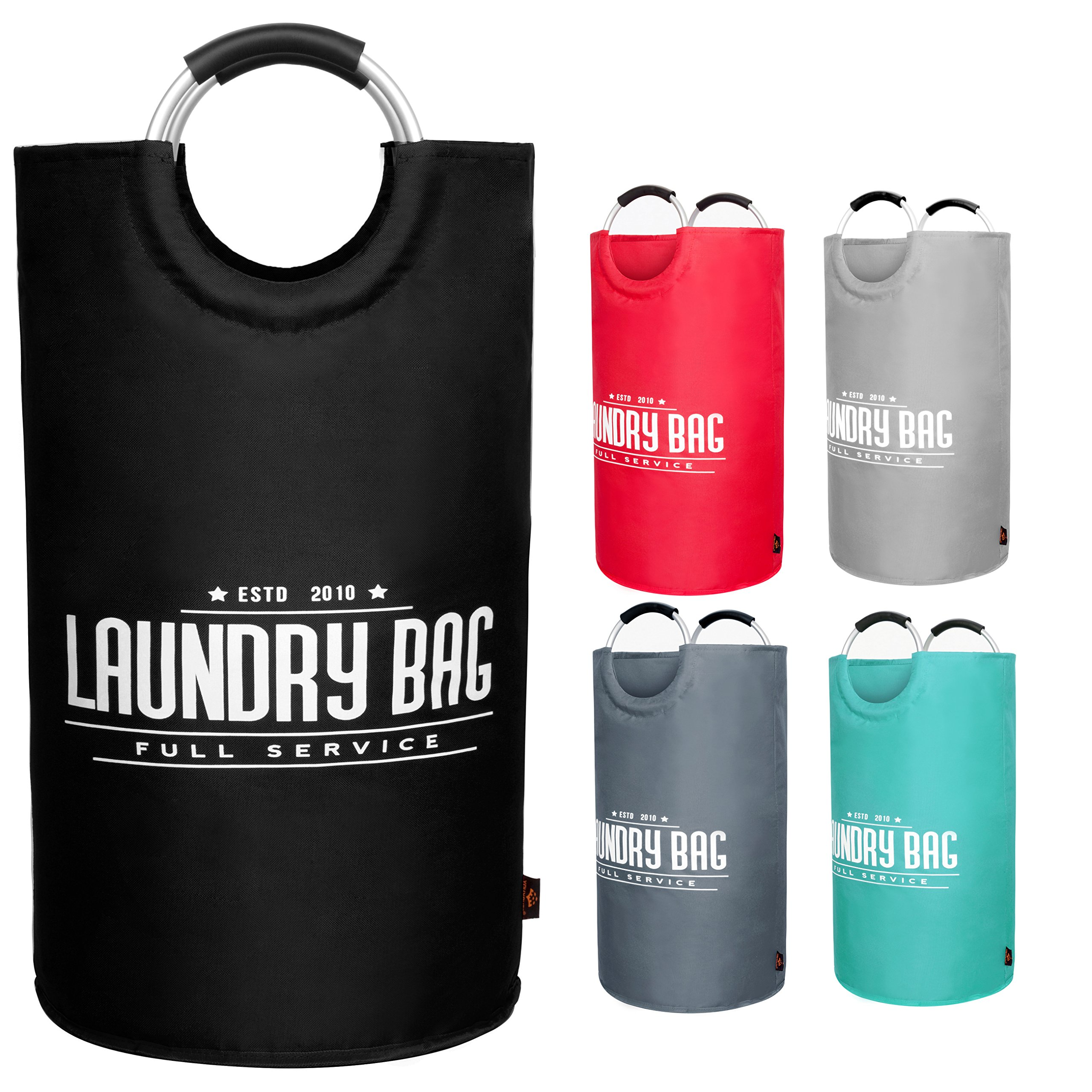 YOUYOUTE Large Laundry Basket, Oxford Fabric Collapsible Laundry Hamper, Foldable College Laundry Bags,Waterproof Portable Storage Bag with Carry Aluminium Handles for Dirty Clothes, Toys (Black)