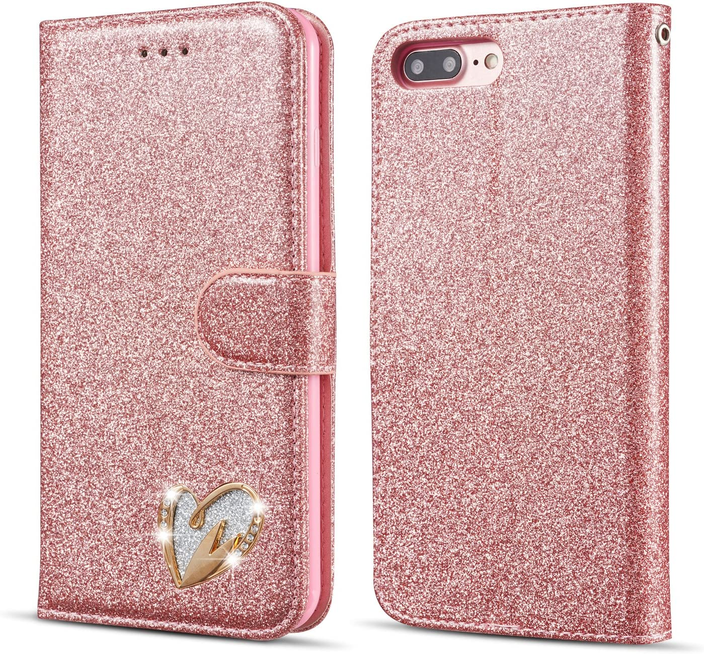 QLTYPRI iPhone 6 Plus Case iPhone 6S Plus Case Wallet Case Bling Shiny Glitter Flip Folio Case Full-Body Protective Cover Card Slots Magnetic Closure Kickstand Wrist Strap for Women Girls - Rose Gold