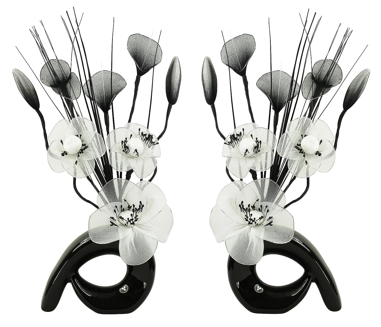 Flourish 794415, Set di 2 Mini Fiori Artificiali in Coordinato, da 32 cm, in Vaso a vortice, Vetro, White in Black, 10 x 10 x 32 cm 723934