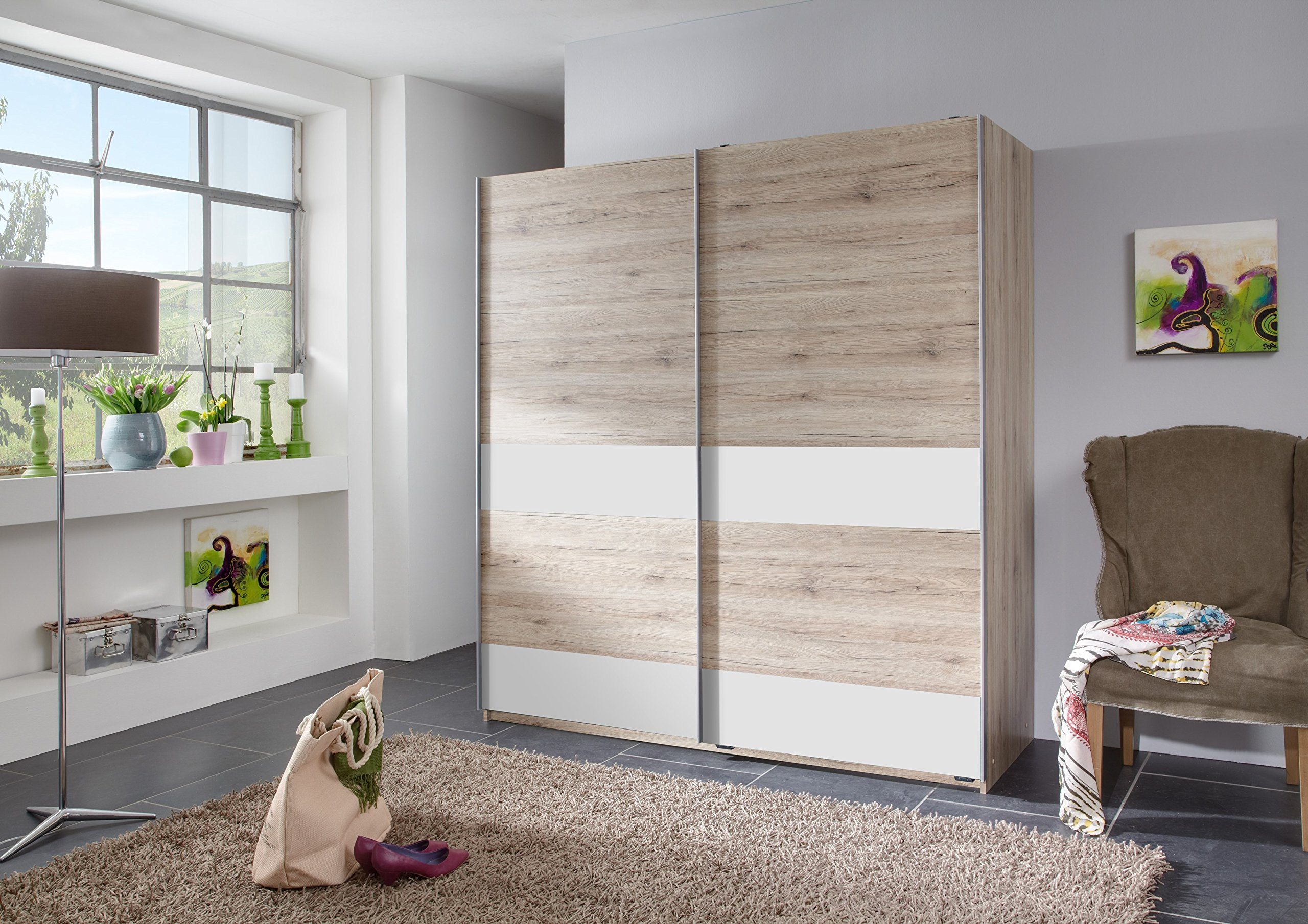 Germanica™ DRESDEN Bedroom 180cm Sliding 2 Door Wardrobe, In A Choice of 2 Colour Schemes SANREMO OAK & WHITE or CONCRETE & LAVA [Includes Full Assembly Service] (SANREMO OAK & WHITE) MADE IN GERMANY