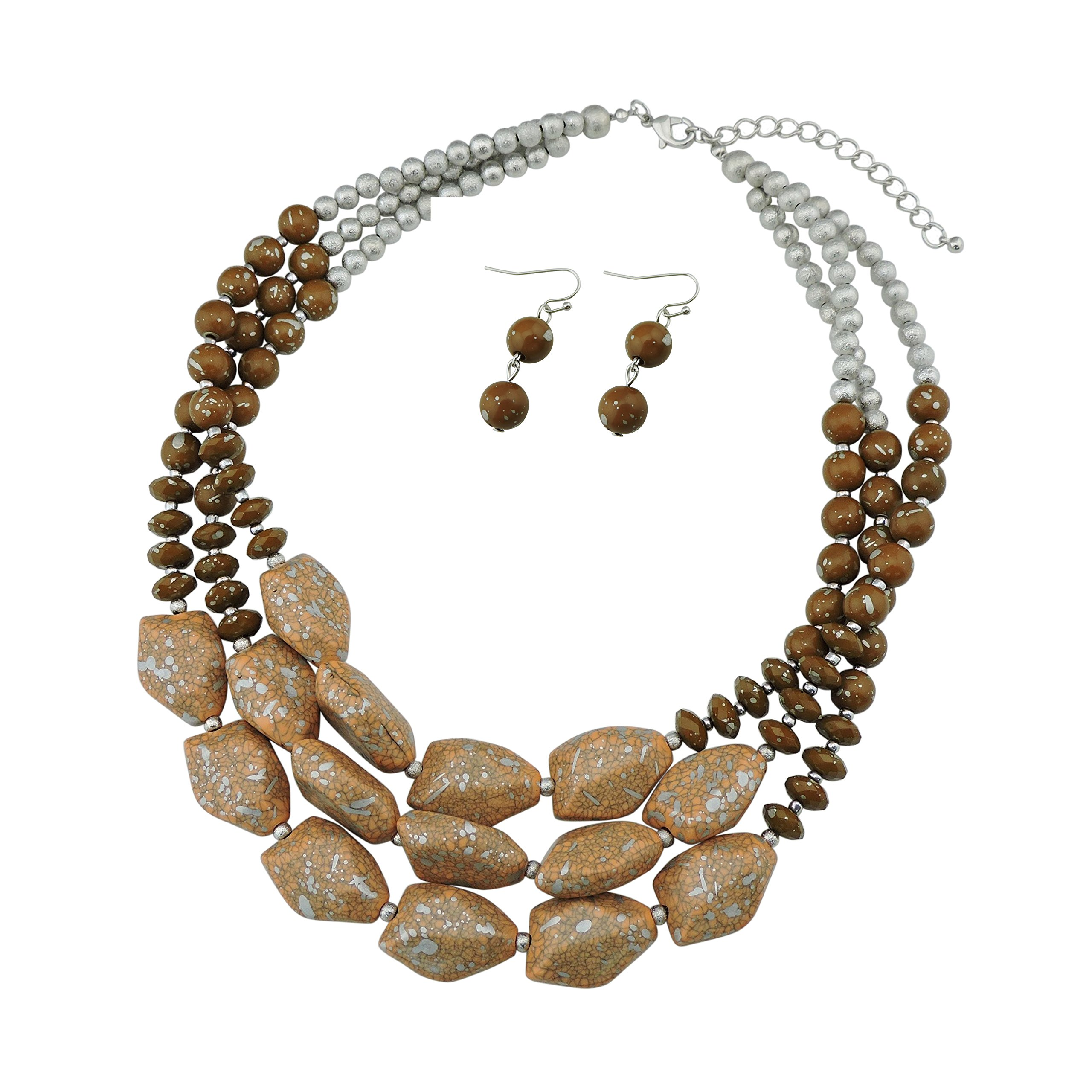 BOCAR Multi Layer Necklace for Women Beads Statement Chunky Necklace and Earring Set (NK-10204-brown)