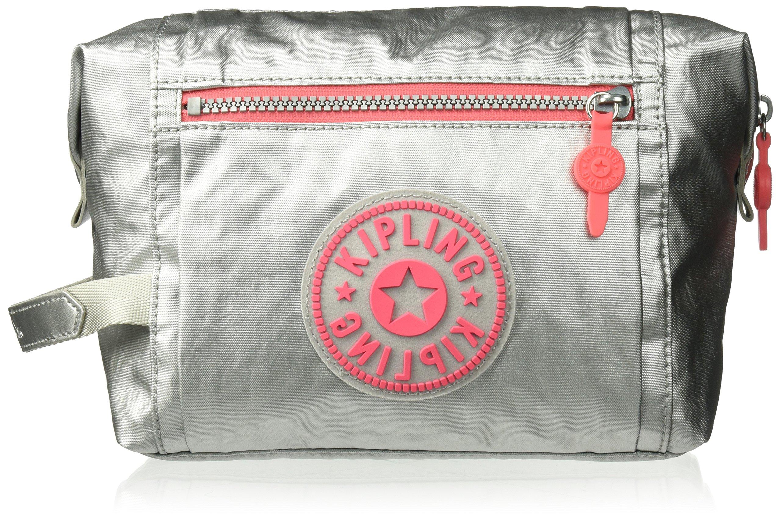 Kipling Leslie Platinum Metallic Cosmetic Bag, Platinum m