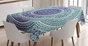 Ambesonne Navy and Teal Tablecloth, Ombre Mandala Old Art with Mehndi Style Effects Bohemian Pattern, Rectangular Table Cover for Dining Room Kitchen Decor, 60