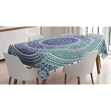 Ambesonne Navy and Teal Tablecloth, Ombre Mandala Old Art with Mehndi Style Effects Bohemian Pattern, Rectangular Table Cover for Dining Room Kitchen Decor, 60  X 84 , Dark Blue