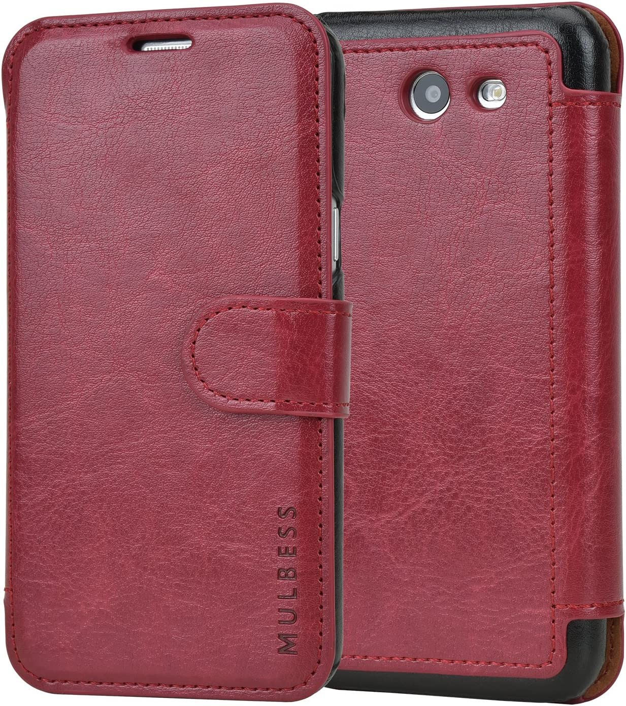Mulbess Layered Samsung Galaxy J3 2017 Leather Case,Flip Phone Case Wallet with Magnetic Clasp for Samsung Galaxy J3 Emerge / J3 Eclipse / J3 Mission / J3 Prime/Express Prime 2 Cover, Wine Red