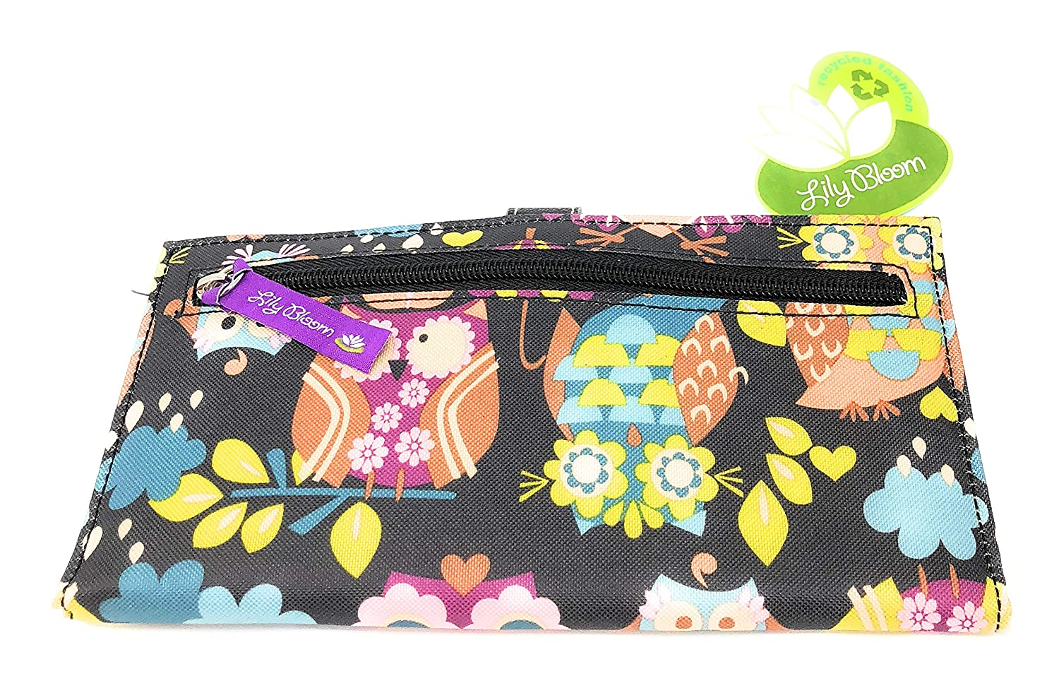 b7bef2858c7a Lily Bloom What a Hoot Black Floral OWLS Front Snap Wallet at Amazon  Women s Clothing store