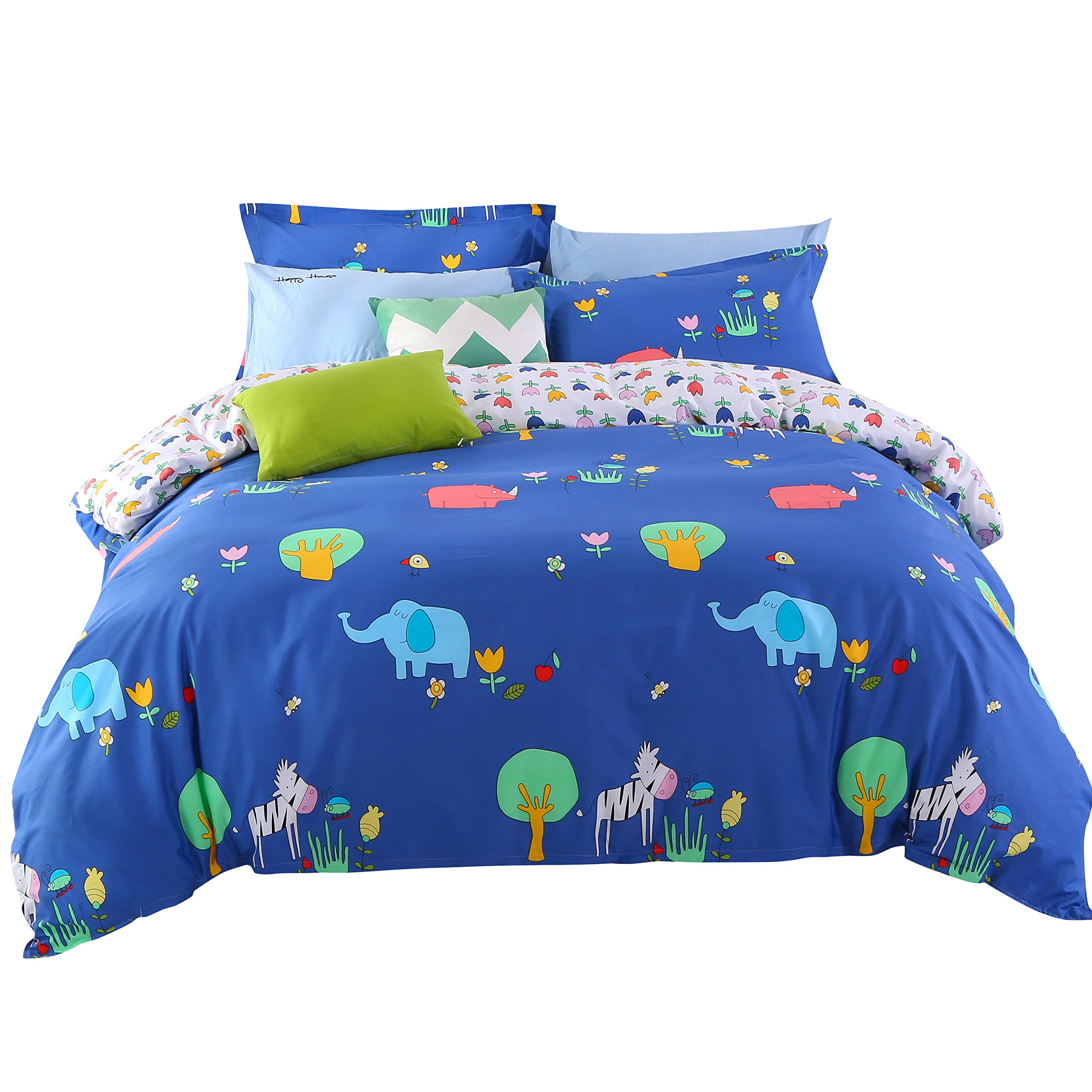 Wowelife Kids Bedding Sets Elephant Pattern Blue 4 Pieces with 100% Cotton,Ultra Soft and Easy Care for Boys and Girls(Comforter Not Included)(Party Time, Queen)