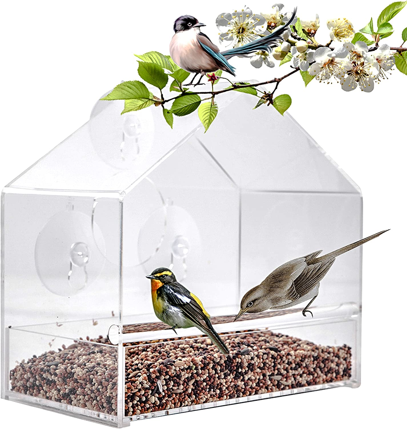 Acrylic Window Bird Feeder with Sliding Seed Tray and Strong Suction Cups Easy to Clean Bird Feeder for Outdoor