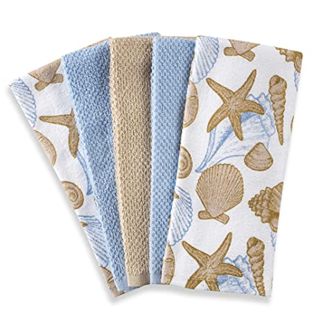 Carcasa toalla de juego de toallas de cocina 5 unidades en azul/blanco | cada
