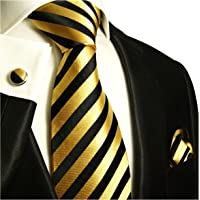 Paul Malone Necktie, Pocket Square and Cufflinks 100% Silk Gold Black Stripes