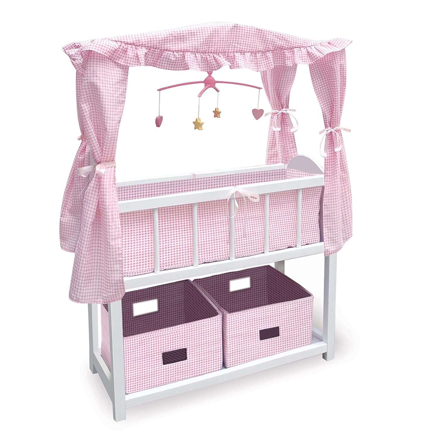 amazon com badger basket canopy doll crib with baskets bedding