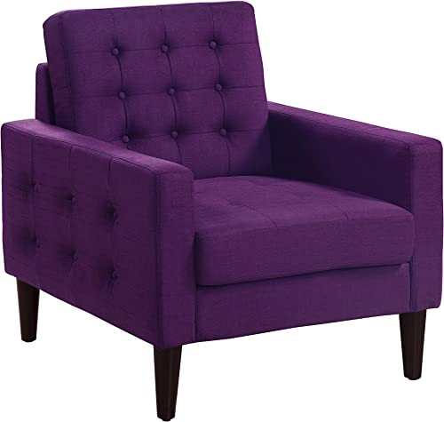 Rosevera Amore Tufted Button Accent Arm Chair, Violet