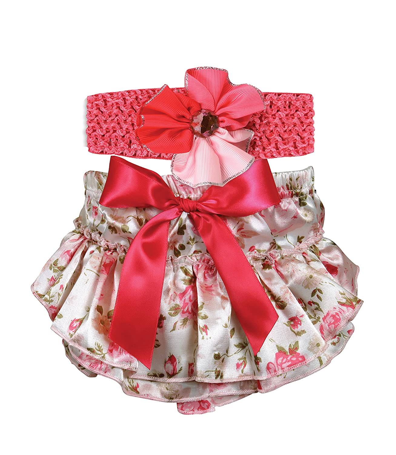 Stephan Baby Pink and Ruffled Roses, Diaper Cover and Curly Band Gift Set, Pink Roses, 6-12 Months by Stephan Baby B00JHML7W2, 富山のしろえびせんべい ささら屋:6fac334c --- itxassou.fr