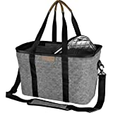 CleverMade SnapBasket Insulated Reusable Grocery Shopping Bag with Shoulder Strap, Reinforced Bottom and Zippered Lid…
