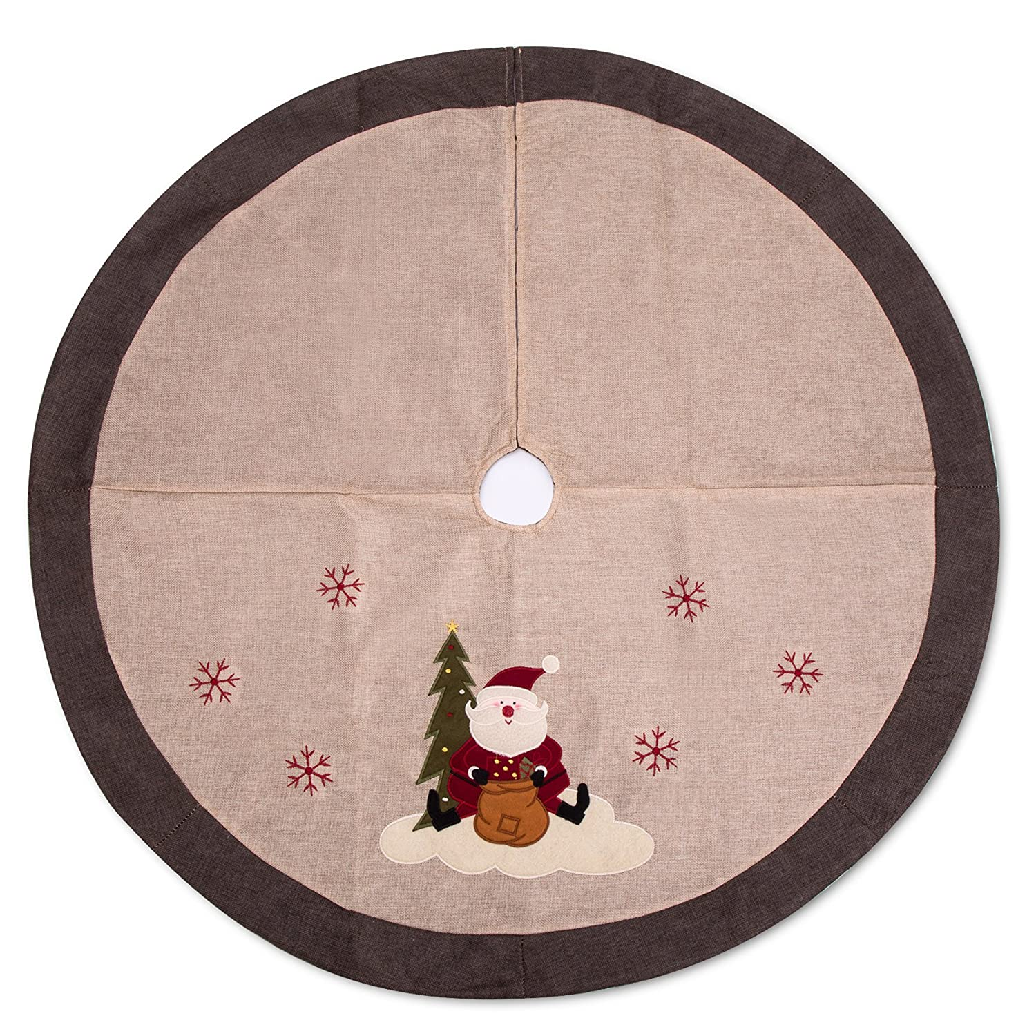 Begie Brown Rim M026 iPEGTOP 42 Burlap Rustic Christmas Tree Skirt Classic Holiday Decorations Woodland Santa Snawflake Embroidery