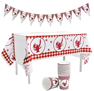 Crawfish Boil Party Supplies - Table cloth Party Decorations - Checkered Tablecloth Design - Banner & Paper Cups