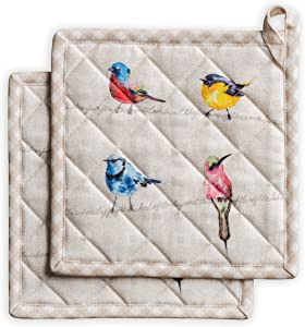 Maison d' Hermine Birdies on Wire 100% Cotton Set of 2 Pot Holders 8 Inch by 8 Inch.