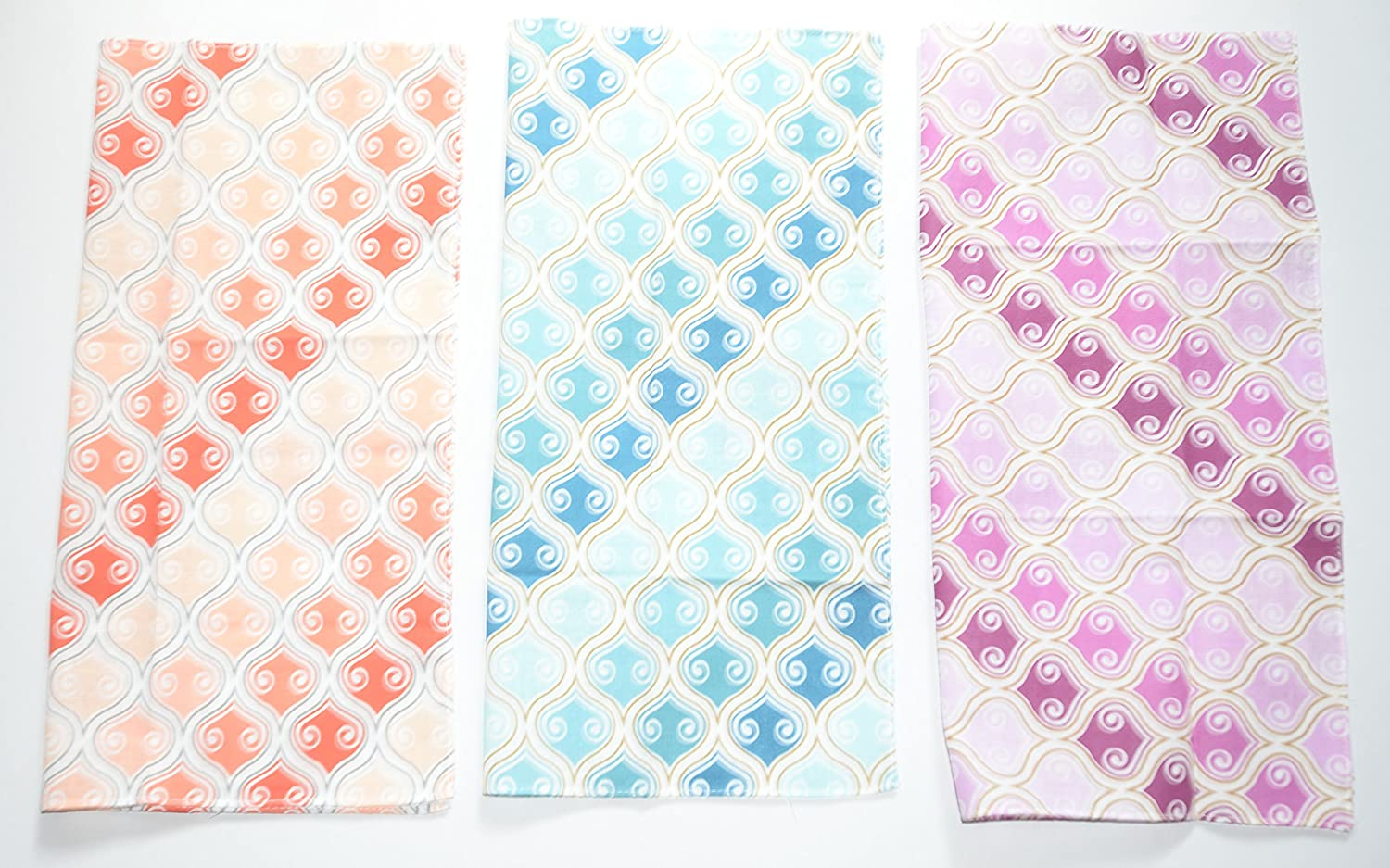 Ladies 100% Cotton Funky Art Design Handkerchiefs (pack of 3), large size, 35cm x 35cm , Trendy Colours In A Funky Design deal from home