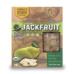 Nature's Greatest Foods, Organic Jackfruit, Chili Lime Flavor, Vegan, Gluten-Free, 10 Ounce (1 Pack)