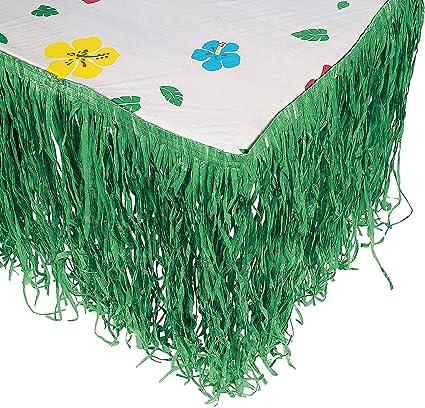 Fun Express Hawaiian Luau Hibiscus Green Table Skirt 9Ft Party Toy