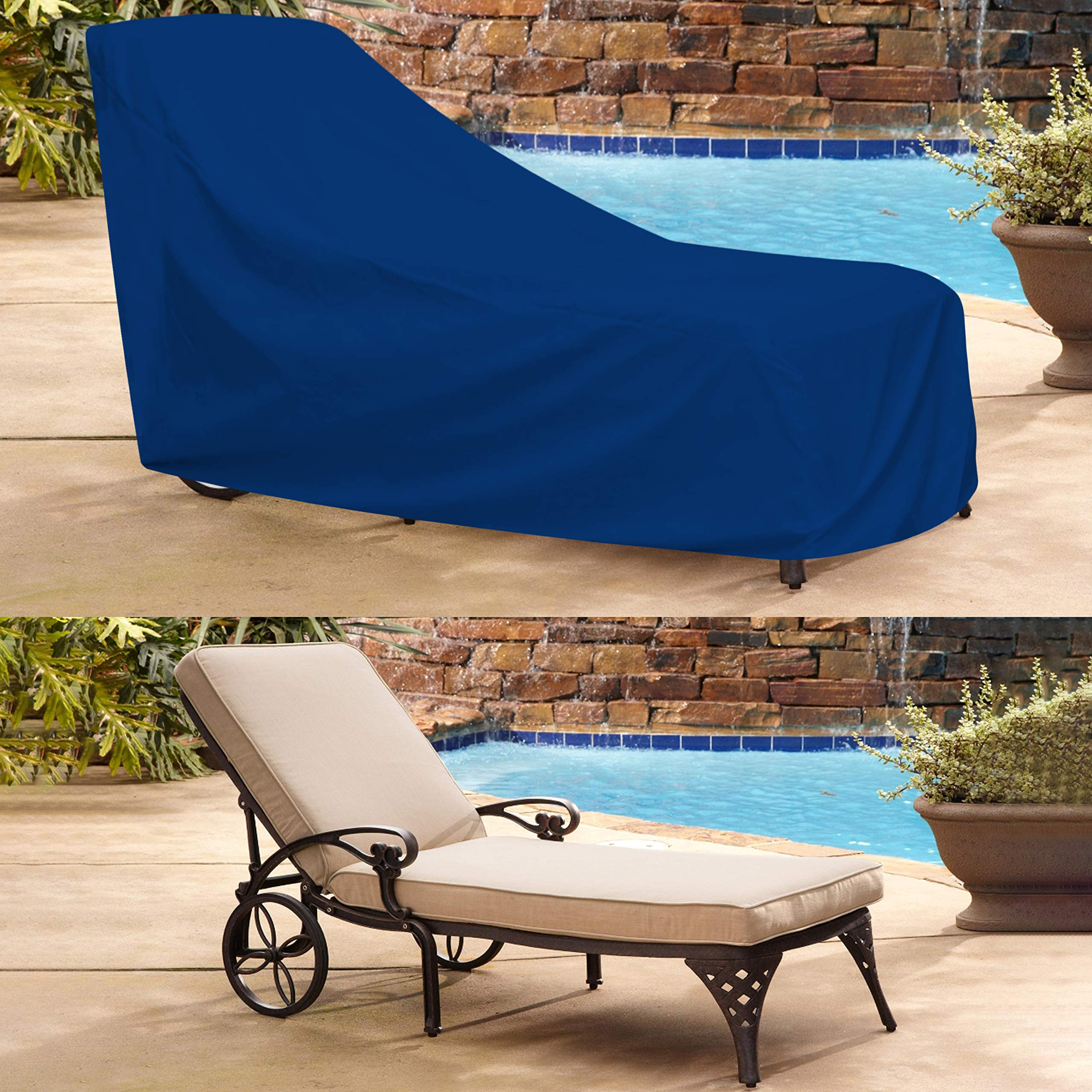 COVERS & ALL Chaise Lounge Cover 18 Oz Waterproof - 100% UV & Weather Resistant Outdoor Chaise Cover PVC Coated with Air Pockets and Drawstring for Snug Fit (80W x 34D x 32H, Blue) by COVERS & ALL (Image #6)