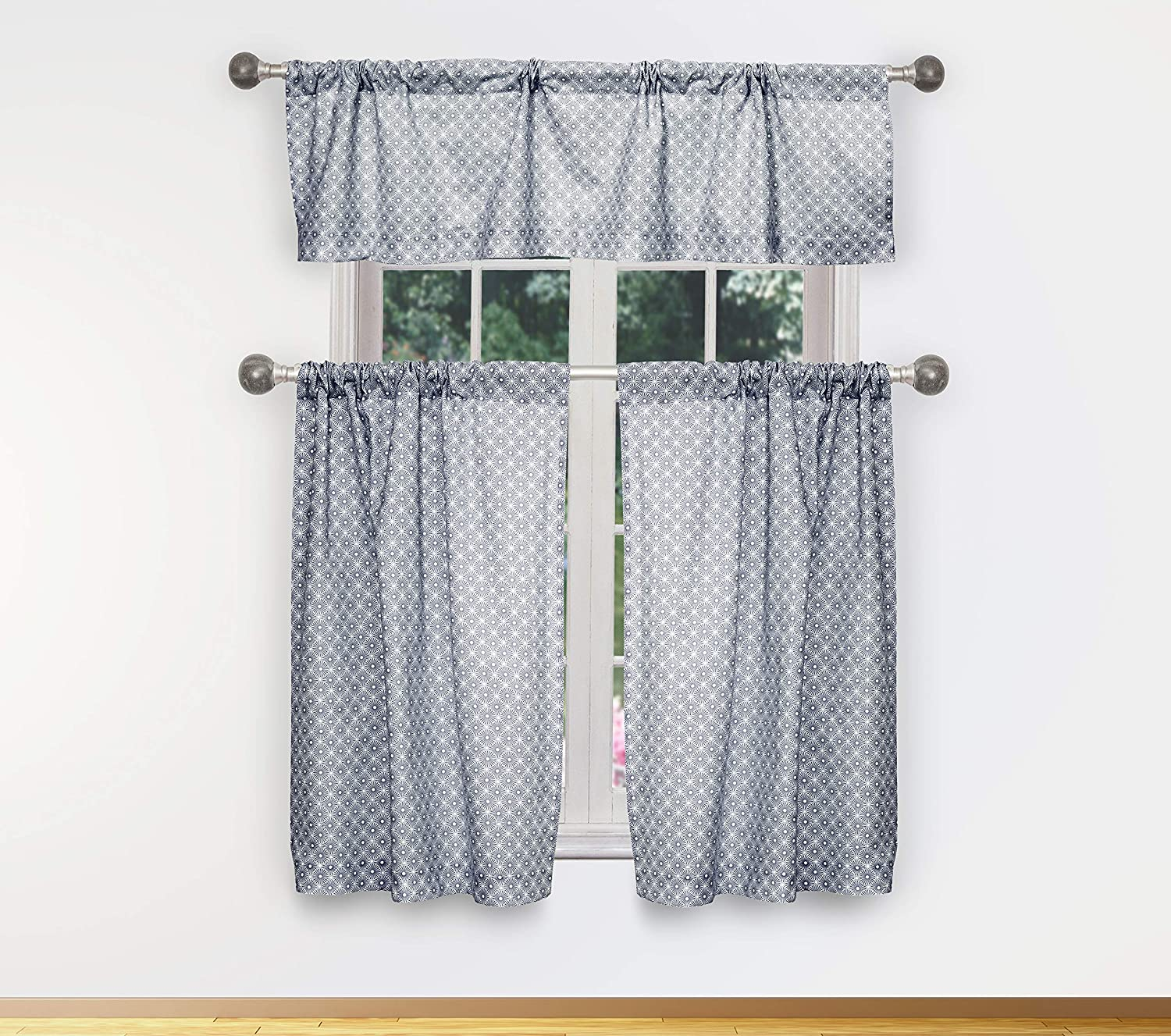 58 X 15 Inch Navy CELE 15137D=12 Laundry or Bedroom Bath Cafe Vera Neumann Celestia Floral Paisley Print Curtain Valance Set for Small Kitchen Window
