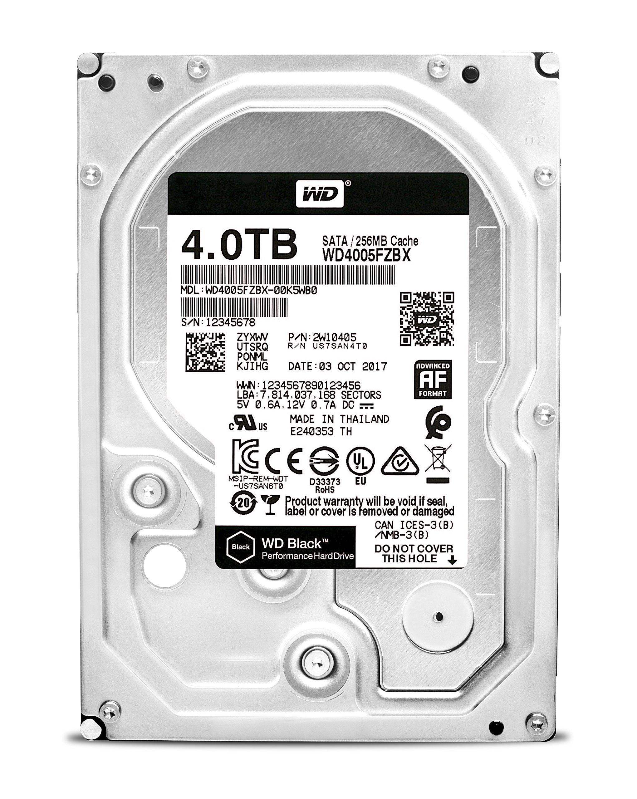 WD Black 4TB Performance Desktop Hard Drive - 7200 RPM SATA 6Gb/s 256MB Cache 3.5 Inch - WD4005FZBX