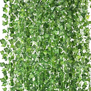 HATOKU 18 Pack Fake Vines for Wall Room Decor Artificial Ivy Leaves Garland Greenery Hanging Plants Artificial Vines, 126 Feet