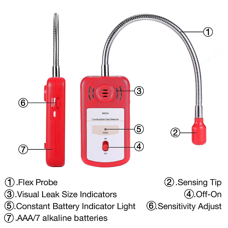 Detector De Fugas De Gas Combustible Sensor Sniffer, Hogar Probador Portátil de Fugas de Gas Explosivo con Alarma de Luz y Sonido Ajustable (Baterías ...