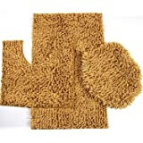 Majestic 3-Piece Mix Chenille Bathroom Mat Set: Large and Small Bath Mat, and Lid Cover - (Gold)