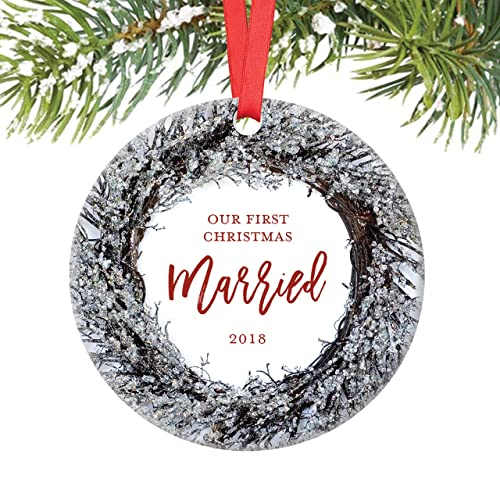 Our First Christmas Married Ornament 2018, Husband & Wife Couple Just  Married Newlywed Wedding Present - Amazon.com: Our First Christmas Married Ornament 2018, Husband