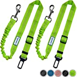 Zenify Dog Car Seat Belt Extendable Lead (2 Pack) - Bungee Leash for Dogs Puppies - Pet Adjustable Elastic Seatbelt Harness Vehicle Safety Birthday Road Trip Gift Idea (Green)