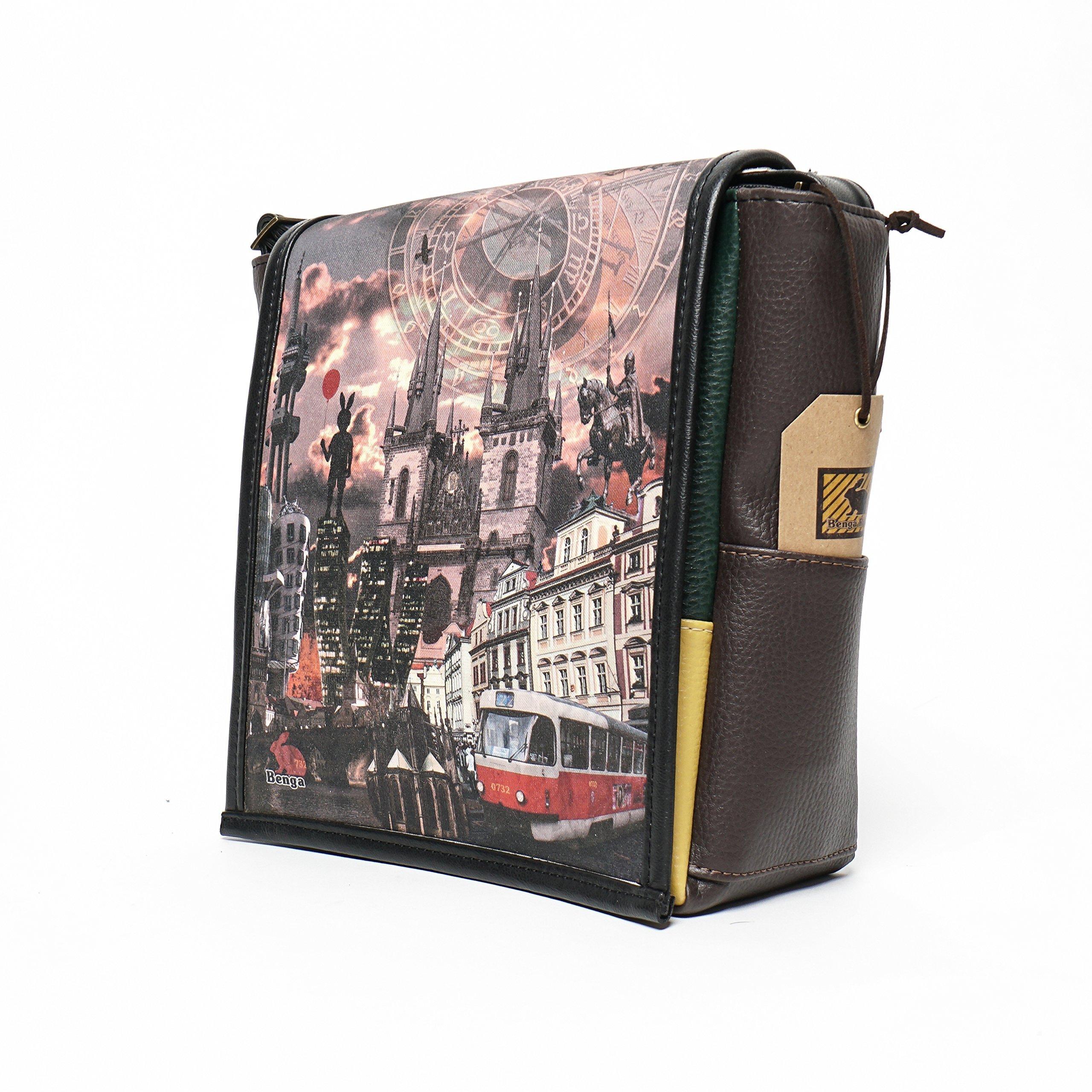 Eskimo - Prague Print - Benga Rabbit - Brown Vegan Leather Bag
