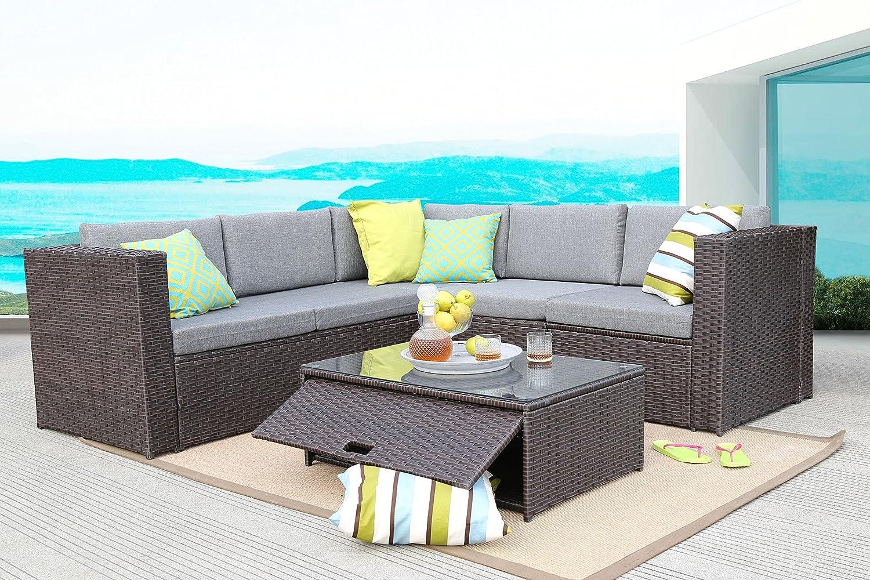 Baner Garden (K35-CH) 4 Pieces Outdoor Furniture Complete Patio Cushion Wicker Rattan Garden Corner Sofa Couch Set, Chocolate
